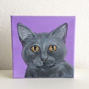 Blue Russian grey cat painted canvas wall art